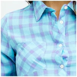 Makers of Dreams Tops - 3 FOR $40 • NEW! Blue/Lavender Button-Up Crop Top